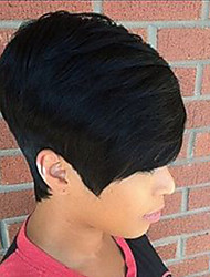 cheap -Small Fresh Fashion  Oblique Fringe Black Short  Human Hair Wigs