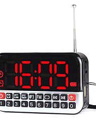 cheap -L-80 FM Portable Radio Alarm Clock MP3 Player TF CardWorld ReceiverSilver Red Green