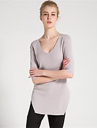 Standard Pullover Da donna-Casual Semplice Monocolore A V Mezza manica Rayon Autunno Inverno Medio spessore Media elasticità