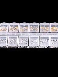PINPAI Gold And Silver Rivet Shaped Strip of Boxed Drilling Nail Metal Sticker Patch Nail Supplies Nail Art Decoration Rhinestone Pearls