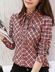 cheap -Women's Daily Going out Casual Summer Fall Shirt,Color Block Shirt Collar Long Sleeves Polyester Medium