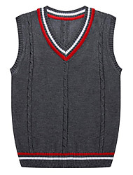 cheap -Men's Daily Casual Regular Vest,Solid V Neck Sleeveless Cotton Acrylic Spring Fall Medium Micro-elastic