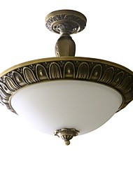 Traditional Artistic Brass 3 Light Flush Mount Ceiling Fixture