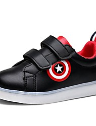 Boys' Sneakers Comfort Light Up Shoes Fall Winter Synthetic Microfiber PU Casual Outdoor Magic Tape Flat Heel White Black Flat