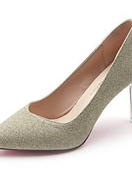 preiswerte -Damen High Heels Pumps Herbst PU Kleid Blume Stöckelabsatz Gold Schwarz Silber 7,5 - 9,5 cm