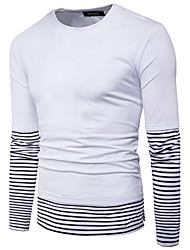 abordables -Hombre Simple Noche Casual/Diario Otoño Camiseta,Escote Redondo A Rayas Bloques Manga Larga Algodón