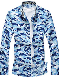 Men's Party Sports Plus Size Holiday Going out Casual/Daily Club Boho Cute Chinoiserie Fall Winter Shirt,Camouflage Shirt CollarLong