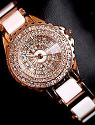 baratos -Mulheres Bracele Relógio / Relógio de Pulso Chinês Criativo Aço Inoxidável Banda Amuleto / Luxo / Brilhante Ouro Rose