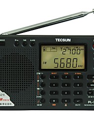 TECSUN PL-380 Portable Radio FM Radio Built in out Speaker Alarm Clock Black Silver Gray