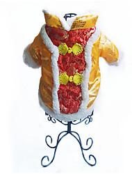 Недорогие -Собака Жилет Одежда для собак Теплый Дышащий На каждый день Новый год Вышивка Желтый Красный Костюм Для домашних животных