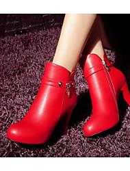 Damen Schuhe Echtes Leder PU Herbst Winter Komfort Pumps Springerstiefel Stiefel Für Normal Schwarz Rot