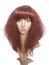 cheap -Synthetic Wig Kinky Curly African American Wig Red Women's Capless Natural Wigs Long Synthetic Hair