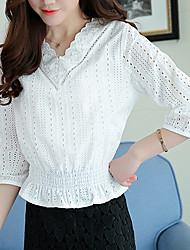 Women's Going out Casual/Daily Simple Blouse,Solid V Neck Long Sleeves Silk Cotton