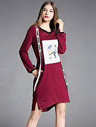 YIYEXINXIANGWomen's Going out Casual/Daily Simple Loose DressPrint Letter Round Neck Above Knee Long Sleeves Rayon Nylon Spandex Fall Mid Rise