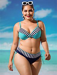 preiswerte -Damen Halter Bikinis Bademode Push-Up Retro Dunkelblau Hellblau
