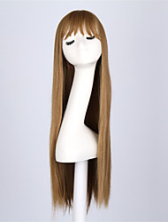 Fashion Brown Color Straight Synthetic Wigs Full Bang  Ladies Women Party Straight Hair Wig Daily Wearing