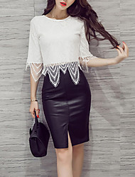preiswerte -Damen Boho Kurz Bluse - Solide, Spitze Hohe Hüfthöhe Rock