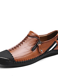 cheap -Men's Shoes Cowhide Summer Fall Comfort Loafers & Slip-Ons Walking Shoes Split Joint Braided Strap for Casual Black Brown