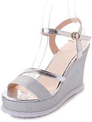 cheap -Women's Shoes PU(Polyurethane) Summer Comfort Sandals Walking Shoes Wedge Heel Round Toe Buckle Gold / Silver / Wedge Heels