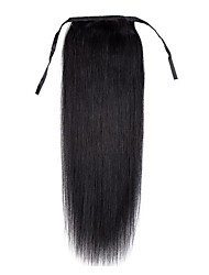 16inch -24inch  jet black 100% human hair clip in hairpiece high ponytail 80g