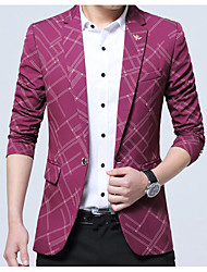 cheap -Men's Daily Simple Casual Spring Summer Blazer,Color Block Plaid Notch Lapel Long Sleeve Regular Polyester