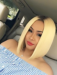 cheap -Synthetic Wigs Ombre Blonde Short Hair Bob Wig Heat Resistant Lace Front Synthetic Hair Wig