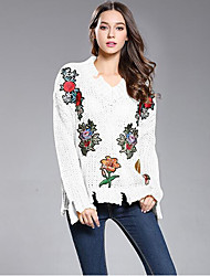 cheap -Women's Daily Regular Pullover,Solid Print V Neck Long Sleeves Wool Spring Fall Medium Inelastic