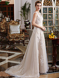 cheap -A-Line Plunging Neck Court Train Lace / Tulle Made-To-Measure Wedding Dresses with Beading / Appliques by LAN TING BRIDE® / Open Back