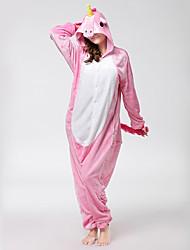 Kigurumi Pajamas Flying Horse Unicorn Onesie Pajamas Costume Flannel Fabric Pink Cosplay For Adults' Animal Sleepwear Cartoon Halloween
