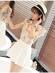 cheap -Women's Daily Casual Summer T-shirt Skirt Suits,Floral V Neck Short Sleeve Others