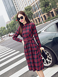 cheap -Women's Going out A Line Dress,Plaid Shirt Collar Midi Long Sleeves Polyester Spring High Rise Micro-elastic Medium