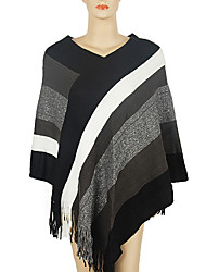 Women Vintage Cloak Cape Bohemian Tassels Fringed Shawl Wrap Scarf Wool Acrylic Rectangle Striped Spring Fall Red/Black