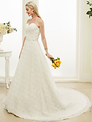 A-Line Sweetheart Court Train Lace Wedding Dress with Beading Sash / Ribbon by HQY