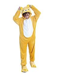 cheap -Adults' Kigurumi Pajamas with Slippers Bear Onesie Pajamas Costume Flannel Fabric Cosplay For Animal Sleepwear Cartoon Halloween Festival / Holiday / Christmas