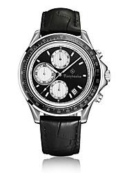 Муж. Модные часы Кварцевый Календарь С тремя часовыми поясами Нержавеющая сталь Кожа Группа Повседневная Черный Розовое золото