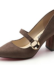 preiswerte -Damen Schuhe Kaschmir Sommer Pumps High Heels Blockabsatz Spitze Zehe Schnalle für Kleid Schwarz Khaki