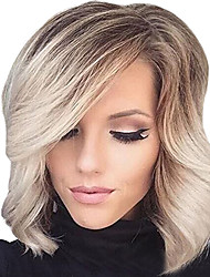 cheap -Short Ombre Blonde Bob Hair Wig Heat Resistant Synthetic Wigs For Black White Women Wig