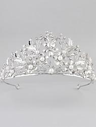 cheap -Gemstone & Crystal Tulle Crystal Imitation Pearl Acrylic Rhinestone Tiaras Headpiece with Crystal Feather 1 Wedding New Baby Housewarming