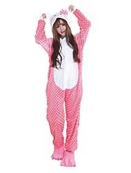 cheap -Kigurumi Pajamas Cat Onesie Pajamas Costume Flannel Fabric Pink Cosplay For Adults' Animal Sleepwear Cartoon Halloween Festival / Holiday