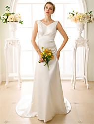 Linea-A A V Strascico di corte Raso elasticizzato Vestito da sposa con Con applique di LAN TING BRIDE®