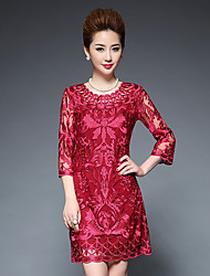 Women's Going out Cute Sheath Dress,Print Round Neck Knee-length Half Sleeves Polyester Fall Mid Rise Micro-elastic Medium