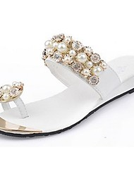 Women's Slippers & Flip-Flops Light Soles Spring Fall PU Casual Imitation Pearl Flat Heel Blushing Pink White Flat