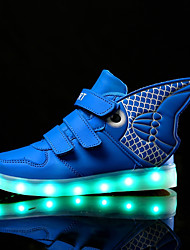 Boys' Sneakers Light Up Shoes Fall Winter Synthetic Microfiber PU Casual Magic Tape Flat Heel Gold White Royal Blue Flat
