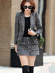 Women's Casual/Daily Simple Fall T-shirt Skirt Suits,Plaid/Check V Neck Long Sleeve Micro-elastic