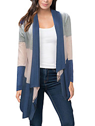cheap -Women's Daily / Holiday / Going out Street chic Long Sleeve Long Cardigan - Striped / Color Block / Spring / Fall