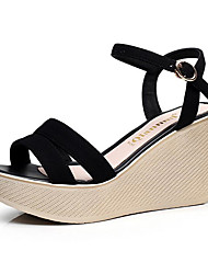 cheap -Women's Shoes Leather Spring Summer Light Soles Sandals Wedge Heel Round Toe Buckle for Office & Career Dress Party & Evening Black Beige