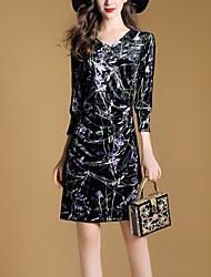 Women's Slim Bodycon Dress Print Patchwork V Neck Mini 3/4 Length Sleeves Fall Mid Rise Micro-elastic