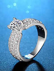 Women's Band Rings AAA Cubic Zirconia Fashion Classic Elegant Silver Cubic Zirconia Circle Jewelry For Wedding Engagement Daily Ceremony