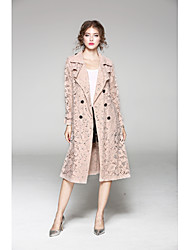 cheap -JOJO HANS Women's Work Long Trench Coat - Solid Colored, Lace Shirt Collar