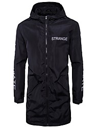 Men's Casual/Daily Simple Spring Fall Jacket,Letter Hooded Long Sleeve Long Others